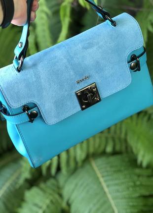 Кожаная сумка италия twr-69 голубая