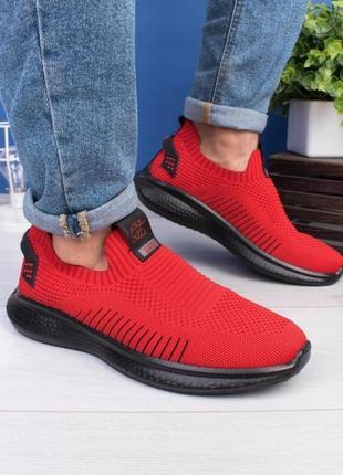 Мужские красные кроссовки без шнуровки