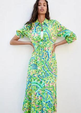 Сукня з принтом і невеликою сумочкою, zara! оригінал, з португалії!