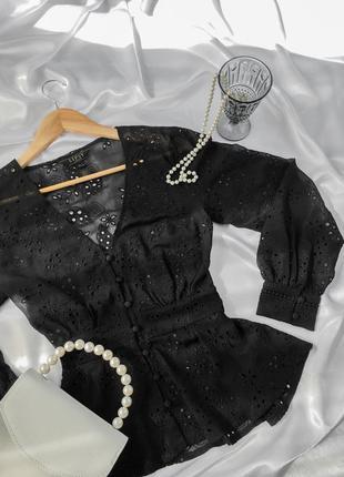 Рубашка с прошвы с обьемными рукавами под винтаж блуза с пышными рукавами нарядная летняя