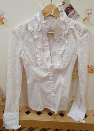 Белая нарядная блузка 42 44 размер кружевная гипюр