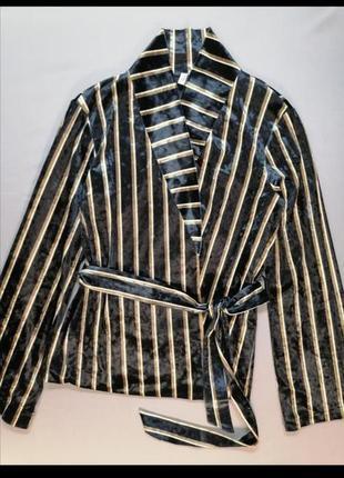 🍓бархатный пиджак на подкладе в вертикальную полоску на запах лёгкий nly trend