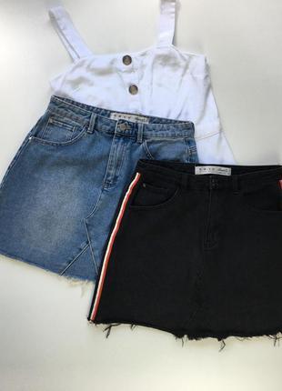 Джинсовая мом трапеция юбка рваный край высокая посадка на талии