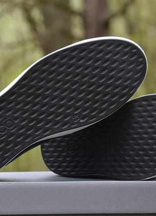 Оригинал ecco шикарные черные кожаные кеды полуботинки ecco soft 8 еко7 фото