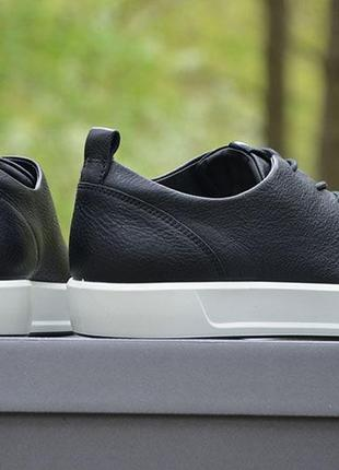 Оригинал ecco шикарные черные кожаные кеды полуботинки ecco soft 8 еко3 фото
