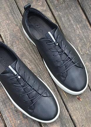 Оригинал ecco шикарные черные кожаные кеды полуботинки ecco soft 8 еко4 фото