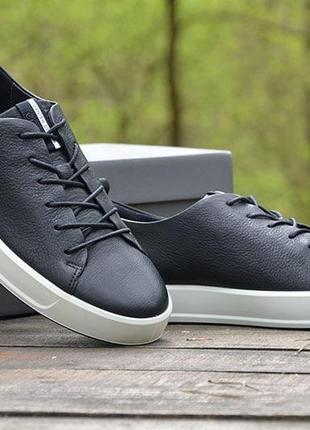 Оригинал ecco шикарные черные кожаные кеды полуботинки ecco soft 8 еко1 фото