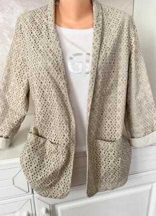 Брендовый котоновый пиджак прошва шитьё
