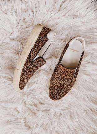 Оригіналльні saint laurent leopard slip on trainer