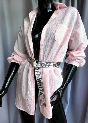 Шифоновая длинная рубашка в полоску