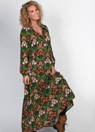 Свободное цветочное платье макси с воланом бохо стиль как zara в отличном состоянии