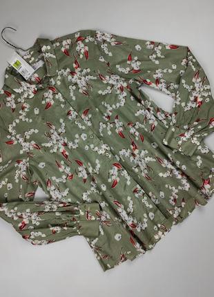 Блуза новая легкая летняя в цветы хлопокmarks&spencer uk 12/40/m