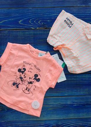 Летний, яркий наборчик для девочки футболка и шорты disney