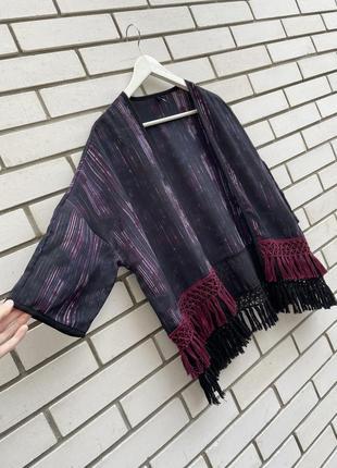 Накидка кимоно кардиган с бахромой в этно бохо стиле s.oliver