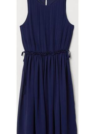 Темно- синее шифоновое платье h&m (размер 12-14)