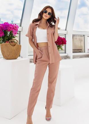 Брючный костюм женский со штанами рубашка лето легкий