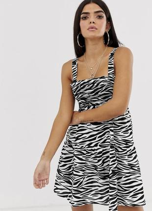 Платье в актуальный принт зебра! лен!