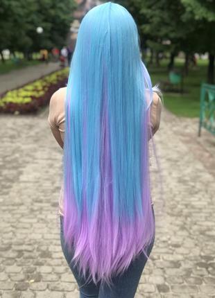 Парик широ, 100 см, голубой с фиолетовым, косплей, аниме, для фотосессии.