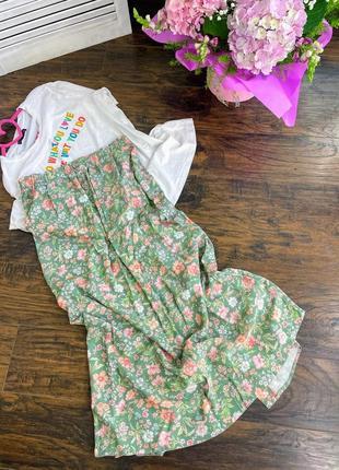 Комплект костюм юбка миди міді спідниця фісташка і базова футболка