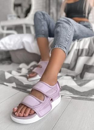 Adidas slippers purple женские летние сандали маломерки