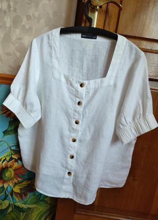 Шикарная льняная блуза с квадратным вырезом