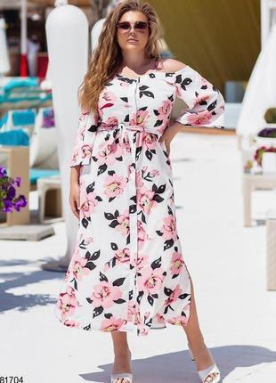 Платье пудровые цветы