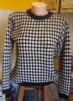 Кофта свитер бежево-черная candy couture размер s 75%акрил, 25%нейлон