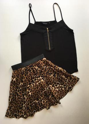 Длинная плиссированная юбка звериный принт леопард