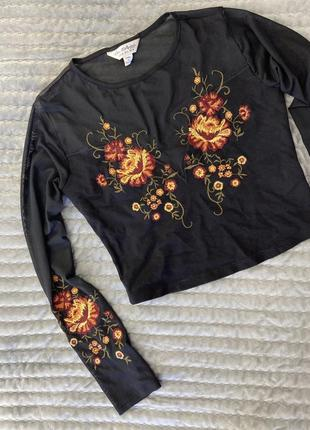 Кроп топ сетка, прозрачная вышивка, цветы, топ с длинным рукавом, кофта, свитшот вишиванка