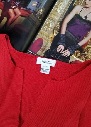 Красный брендовый вязаный кардиган calvin klein с рукавами воланами накидка хлопковая оригинал xxl