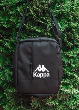 Черный мужской мессенджер kappa | черная сумка через плечо kappa