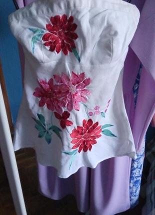 Вишитий топ warehouse лляна блуза вишивана сорочка