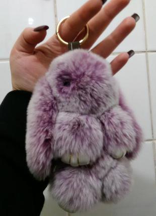 Брелок-зайка, брелок-кролик, аксессуар, натуральный мех