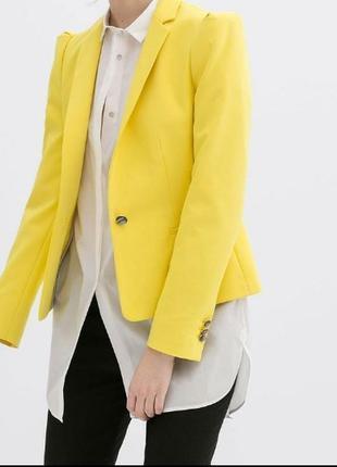 Яркий желтый нарядный летний пиджак жакет кардиган зара