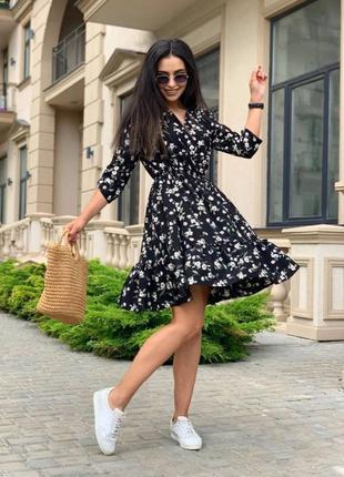 Платье летнее nobilitas 42 - 52 черное софт (мод. 21022)