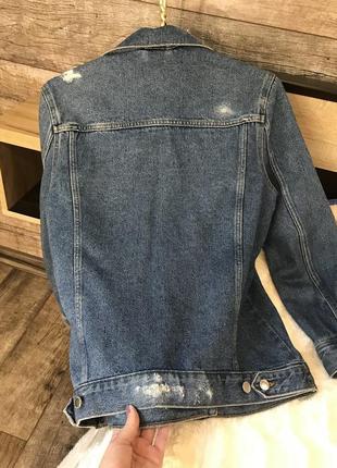 Джинсовая куртка, удлиненный джинсовый пиджак, жакет3 фото