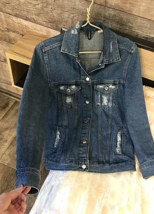 Джинсовая куртка, удлиненный джинсовый пиджак, жакет1 фото