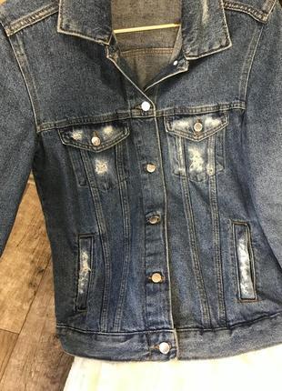 Джинсовая куртка, удлиненный джинсовый пиджак, жакет2 фото