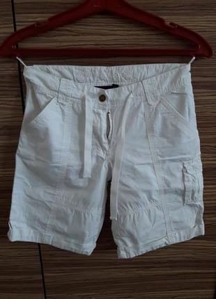 🌞белые хлопковые удлиненные шорты с карманами