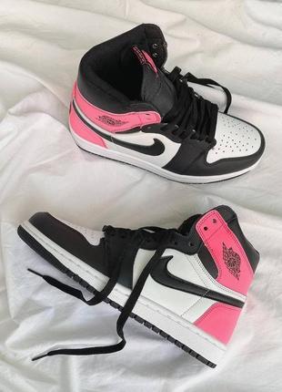 Retro 1 pink/black nike air jordan кроссовки найк джорданы наложенный платёж купить