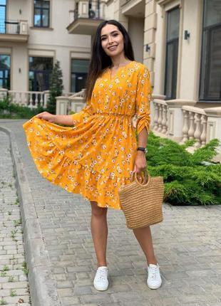 Платье летнее nobilitas 42 - 52 желтое софт (мод. 21022)