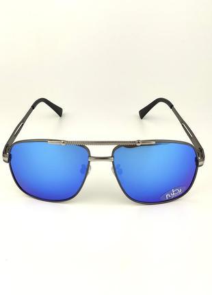 Cолнцезащитные очки flyby «oslo» металлическая серая оправа с зеркальной голубой линзой
