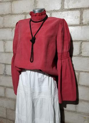 Красивая блуза под горло широкий рукав  лиоцелл 87%