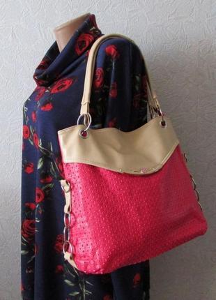 Красивая вместительная женская сумка эко кожа с доп. длинной ручкой!