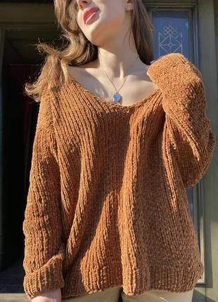 Мягкий велюровый оверсайз свитер