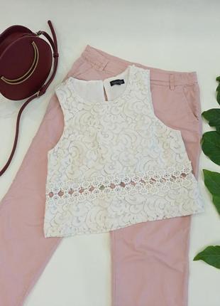 Кружевной топ, блузка в белом цвете topshop