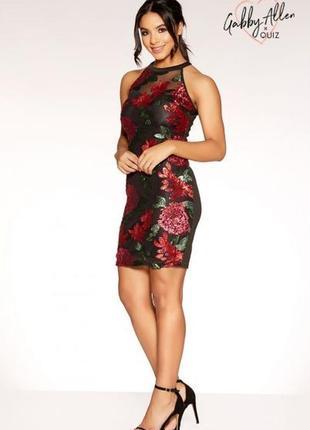 Яркое нарядное коктейльное вечернее платье в пайетках №399