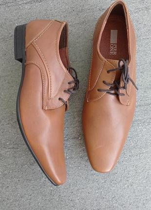 Кожаные стильные мужские туфли от am - 42 р кожа везде - новые