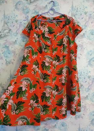 Красивая блузка рубашка большого размера в цветочный принт plus size