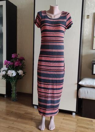 Платье миди в полоску 44